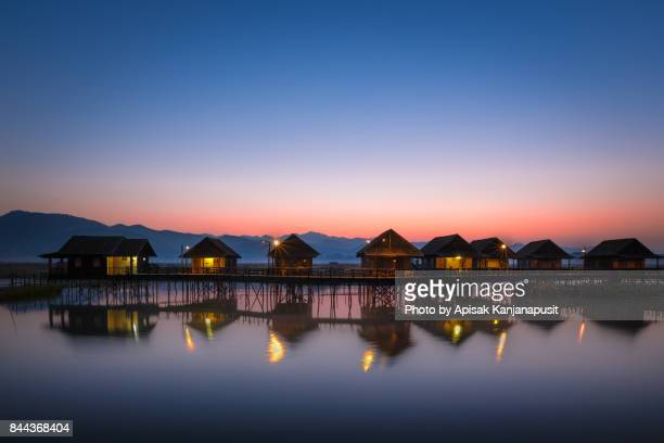 before sunrise at inle leak, shan state, myanmar - inle lake stock pictures, royalty-free photos & images