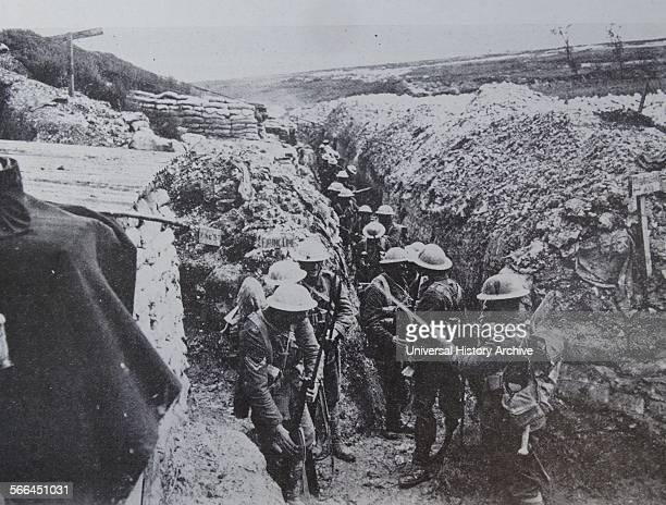 Before the Battle of Albert in July 1916 the 1st Lancashire Fusiliers fix bayonets This trench is typical of many where the men lived and fought...