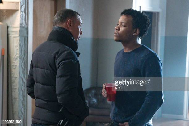 D Before the Fall Episode 717 Pictured Jason Beghe as Hank Voight Bryson Thomas as Lamar Garrison