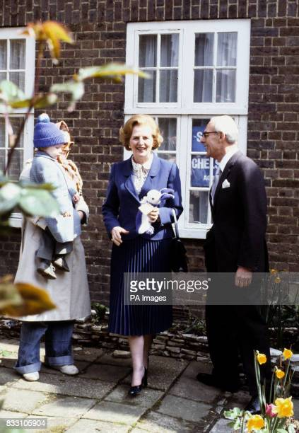 Before the final announcement of the General Election result Margaret Thatcher was presented with 'Flopsy' a knitted woolen rabbit by two year old...