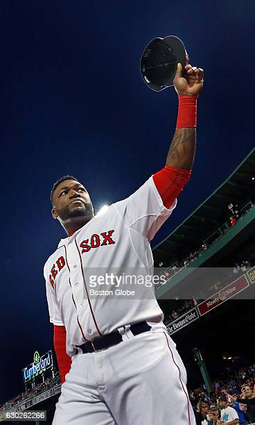 Before the game the Red Sox hold a ceremony to commemorate the 500th home run of his career by David Ortiz Here he is pictured as he tips his cap to...