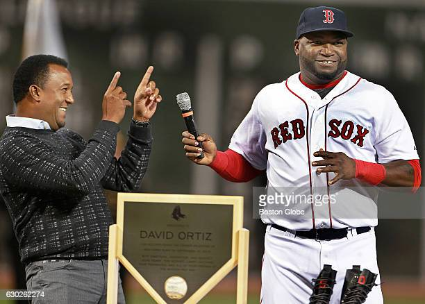 Before the game the Red Sox hold a ceremony to commemorate the 500th home run of his career by David Ortiz right Here he is pictured with former...