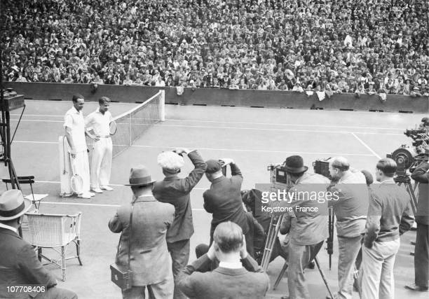 Before The MatchBorotra And Lott During The Davis Cup Final On July 27Th 1930