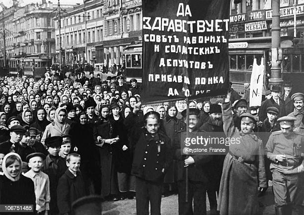 Before The October Bolchovik Revolution Russian Sailors Demonstrating For The Increase Of Wives Mobilized People Grant In 1917