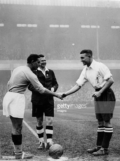 Before the soccer match the captains of the italian and the english teams greet London England Photograph November 14th 1934