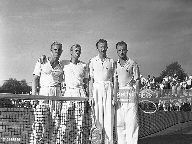 Before the start of the men's doubles championship of the Eastern Lawn tennis tournament, held at the Westchester Country Club the finalists posed....