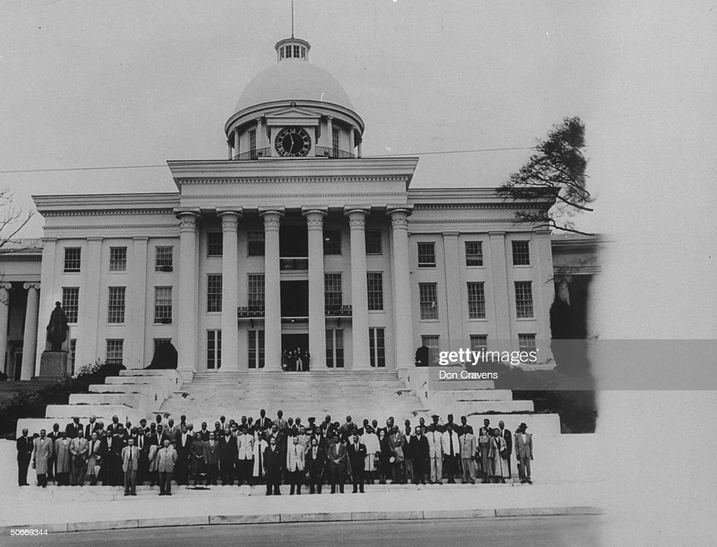 Before the State Capitol, standing are 8 : News Photo