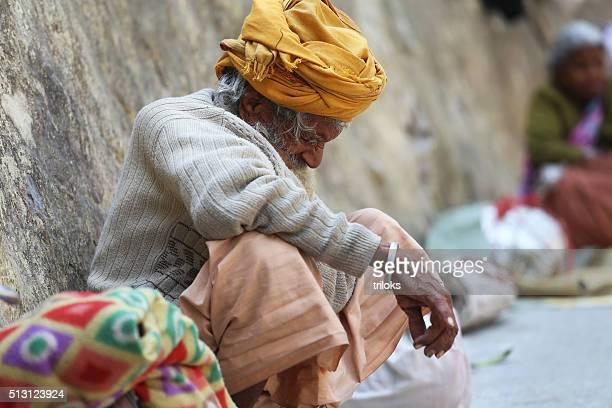 Beggar begging at Har Ki Pauri