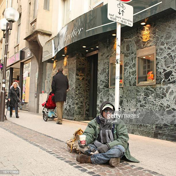 Beggar in Front of Cartier Jewelry Store