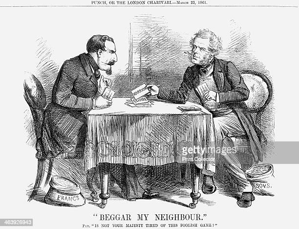 Beggar my Neighbour 1861 Napoleon III in a game of cards with Palmerston has laid what he believes to be a trump in the shape of the French ship 'La...