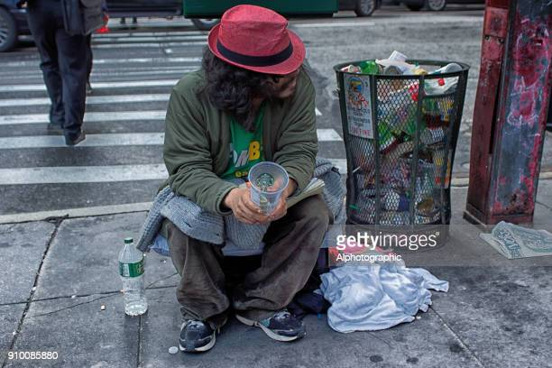 beggar on the streets of new york - homeless person stock pictures, royalty-free photos & images