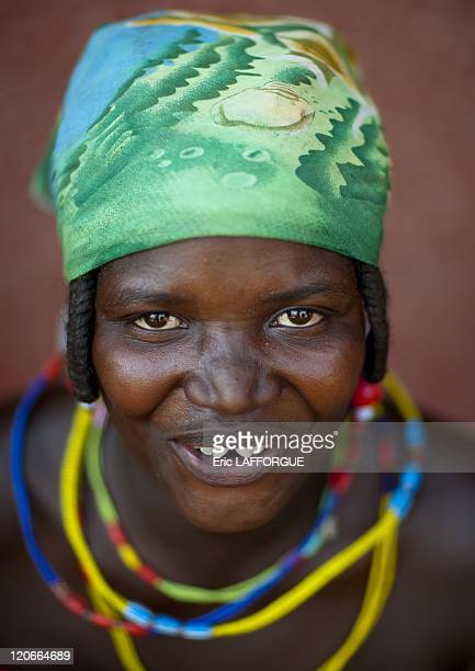 Beggar Woman Refugee Of The Angolan Civil War in Opuwo Namibia on August 19 2010 Woman who is a refugee from Angolan Civil War They surviving by...