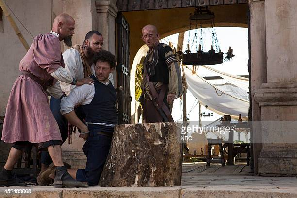 CROSSBONES 'Beggarman' Pictured Richard Coyle as Tome Lowe Ezra Buzzington as Eisengrim