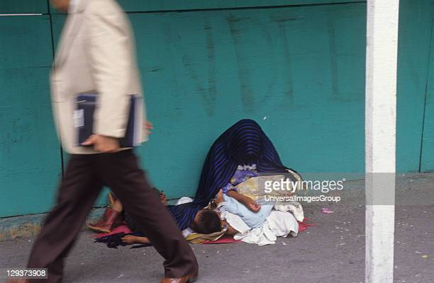 Beggars, Mexico City, Indian Mother With Her Children Begging On The Streets,