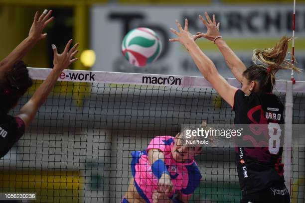 Begic Edina from Saugella Team Monza and Orro Alessia from Unet EWork Busto Arsizio playing during Samsung Serie A volley match in PalaYamamayMaria...