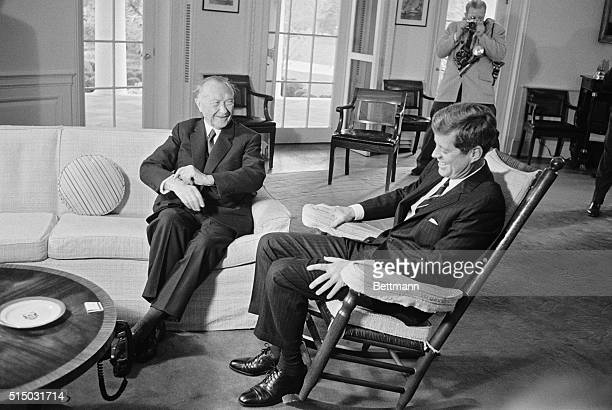 Begin talks Washington DC President Kennedy and West German Chancellor enjoy a laugh prior to start of their intense round of Cold War crisis talks...
