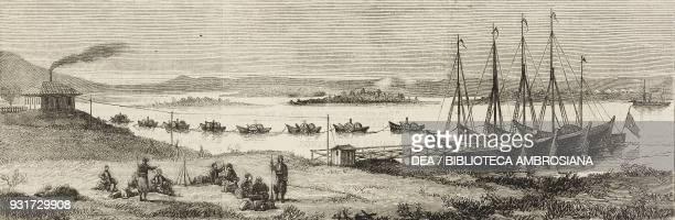 Beginning of a Turkish pontoon bridge Silistra Bulgaria RussoTurkish War illustration from the magazine The Graphic volume XVI no 419 December 8 1877