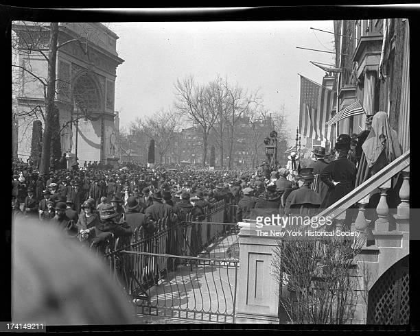 Beginning of a World War I victory parade at Washington Square, New York, New York, late 1910s.