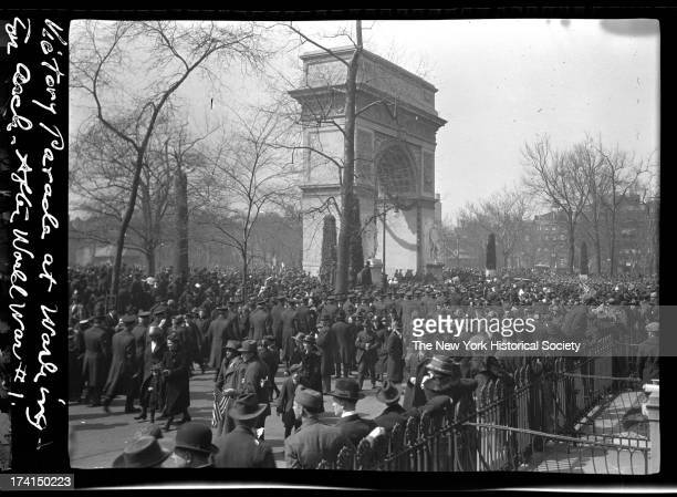 Beginning of a World War I victory parade at Washington Square New York New York late 1910s