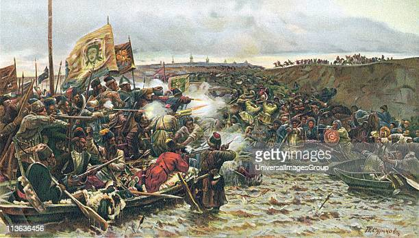 Beginning of conquest of Siberia Cossacks under Jermak Timofejew attacking army of Khan Kutschuma on the River Irtysch 1580 Oleograph c1900
