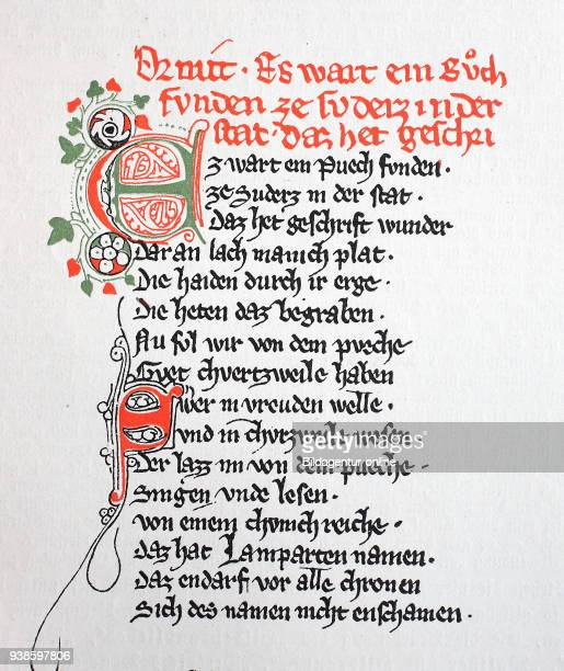 Beginning of Ortnit according to the manuscript of the KK Hofbibliothek in Vienna the oldest surviving Ortnithandschrift medieval legend 13th century...