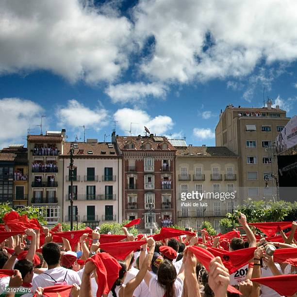 beginning of sanfermin party - pamplona stock photos and pictures