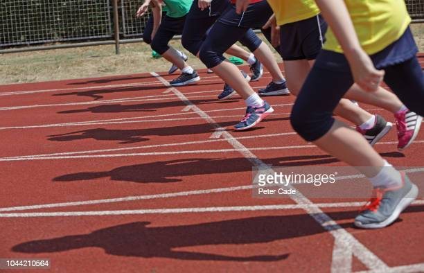 beginning of school race - sportsperson stock pictures, royalty-free photos & images