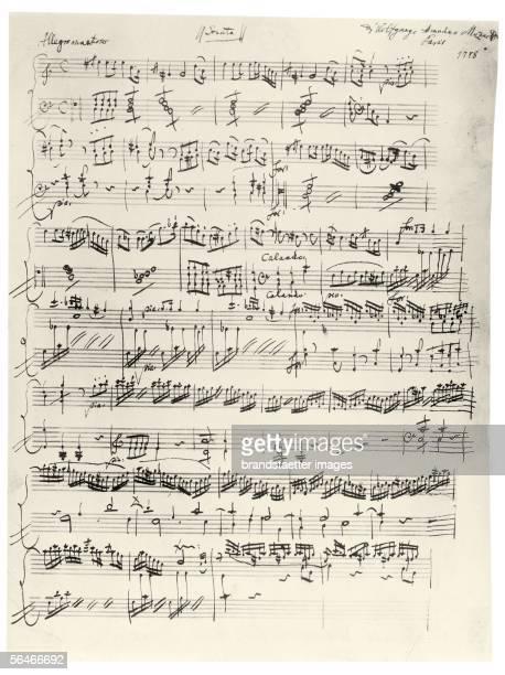 Beginning of the clavier sonata AMoll KV310 Autograph 1778 [Beginn der Klaviersonate A Moll KV310 Autograph 1778]