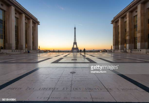 Beginning of the day in Paris from the Eiffel tower and the Trocadero