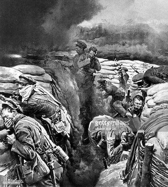 Beginning of the use of war gas by German forces in the Battles of Ypres in April 1915 British soldiers in a trench exposed to toxic clouds drawing...