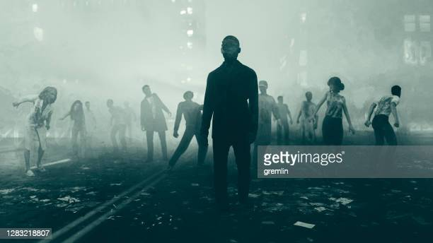 beginning of the zombie apocalypse - zombie stock pictures, royalty-free photos & images