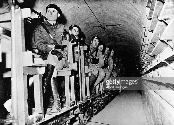 Beginning of World War II Maginot Line Transport of troops on tracks