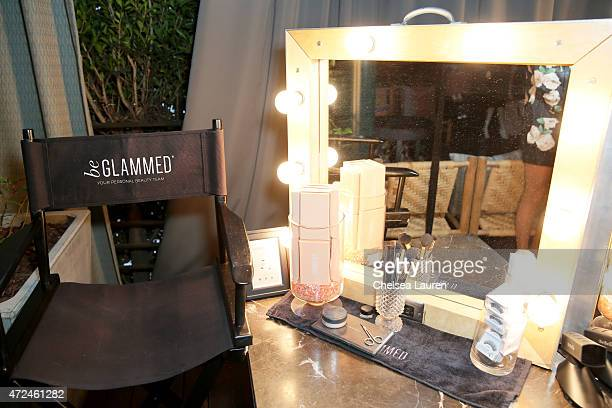 A beGlammed makeup chair and products are displayed at the NYLON Young Hollywood Party presented by BCBGeneration at HYDE Sunset Kitchen Cocktails on...