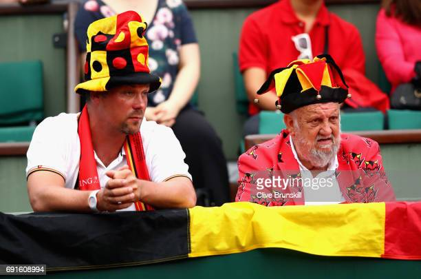 Beglian fans watch on in the ladies singles third round match between Venus Williams of The United States and Elise Mertens of Belgium on day six of...