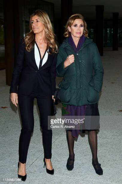 Begoña Gomez and designer Agatha Ruiz de la Prada attend the Elio Berhanyer Funeral Chapel at Museo del Traje on January 24 2019 in Madrid Spain