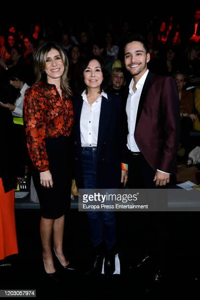 Begoña Gomez Isabel Gemio and Diego Manrique attend Hannibal Laguna fashion show during the Mercedes Benz Fashion Week Autum/Winter 202021 at Ifema...
