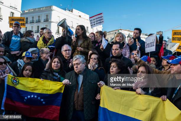Begoa Villacis from Ciudadanos party giving support to Venezuelans during a protest against President Nicolas Maduro. Maduro was sworn in for a...
