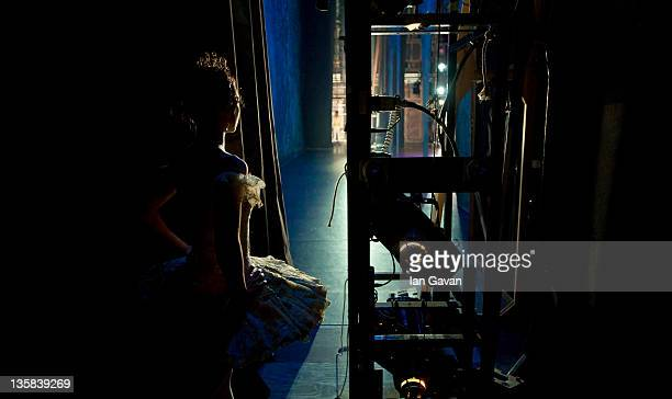 Begona Cao of the English National Ballet waits in the wings during a performance of The Nutcracker at the Coliseum on December 14 2011 in London...