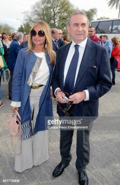 Begona Garcia Vaquero and Pedro Trapote attend a procession during Holy Week celebration on March 26 2018 in Seville Spain