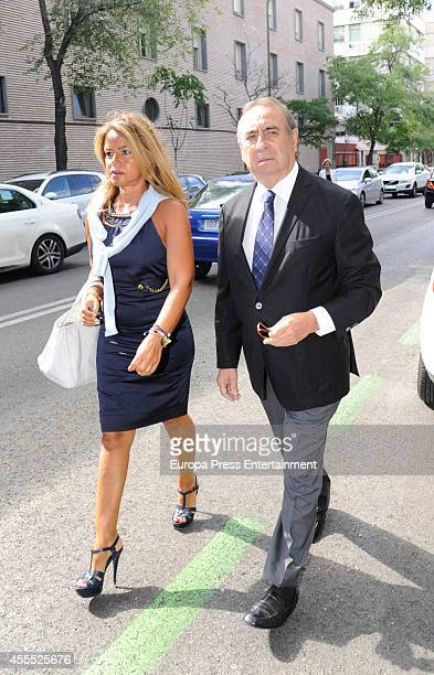 Begona Garcia Vaquero and Pedro Trapote attend the funeral chapel for Isidoro Alvarez president of El Corte Ingles who died at 79 aged on September...