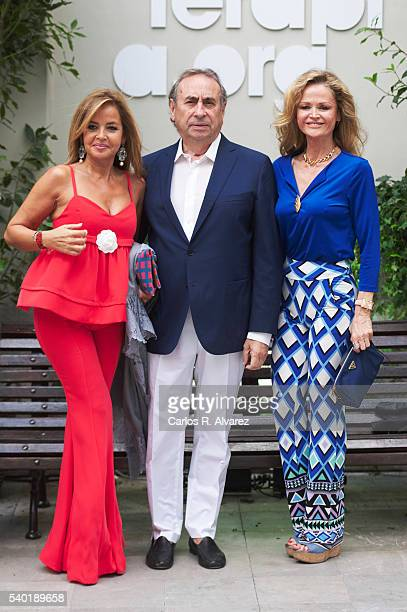 Begona Garcia Vaquero Pedro Trapote and Beba Longoria attend Juegaterapia party at the Santo Mauro Hotel on June 14 2016 in Madrid Spain