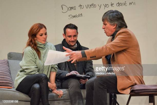 Begona Narvaez Cristian Magaloni and Rafael Sanchez Navarro act during the premiere of the play Seminar at Teatro Milan on January 31 2020 in Mexico...