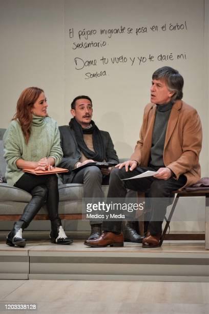 Begona Narvaez Cristian Magaloni Rafael Sanchez Navarro act during the premiere of the play Seminar at Teatro Milan on January 31 2020 in Mexico City...