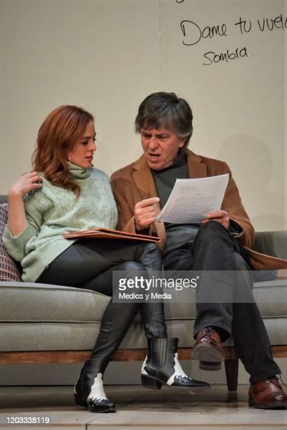Begona Narvaez Rafael Sanchez Navarro act during the premiere of the play Seminar at Teatro Milan on January 31 2020 in Mexico City Mexico