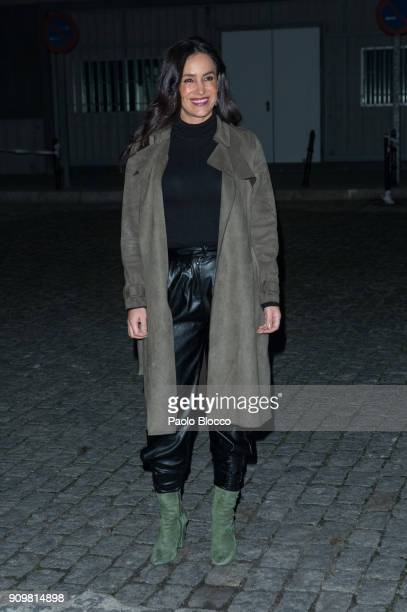 Begona Villacis arrives at the Pedro del Hierro fashion show at 'Mueso del Ferrocarril' on January 24 2018 in Madrid Spain