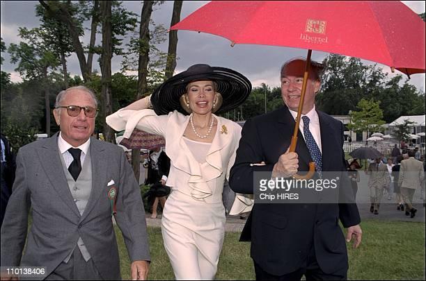 Begum and husband Karim Aga Khan at 'Prix de Diane' horse race in Chantilly France on June 10 2001