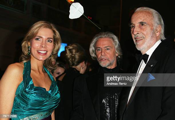 Begum Inaara Aga Khan Hermann Buehlbecker and Christopher Lee during 7th Annual Cinema For Peace Gala sponsored by BMW CleanEnergy part of the 58th...