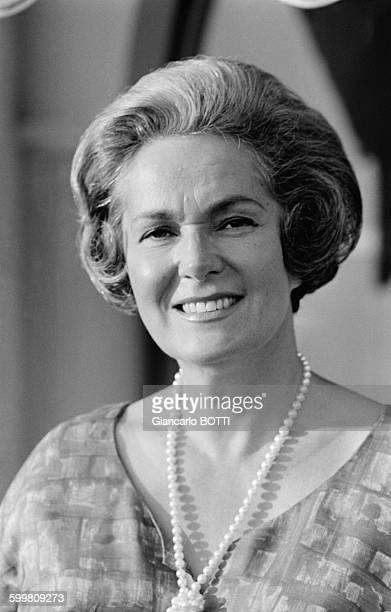 Begum Om Habibeh Aga Khan born Yvette Blanche Labrousse is the fourth and last wife of Sir Sultan Muhammad Shah Aga Khan III in France circa 1960