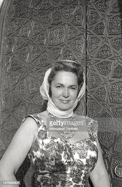 Begum Om Habibeh Aga Khan born Yvette Labrousse was the fourth wife of Aga Khan III the 48th Imam of the Shia Ismaili Muslims She is photographed at...