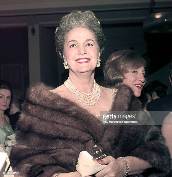 Begum Om Habibeh Aga Khan fourth and last wife of Sir Sultan Muhammad Shah Aga Khan III at a theatre in Paris circa 1963